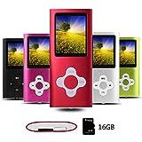 Btopllc Lecteur de Musique MP3 / MP4 Portable 16 Go, Lecteur de Musique numérique, Lecteur vidéo, ebook, Lecteur de Photos -Rouge