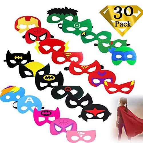 Superhelden Masken, 30 Stücke Superhero Cosplay Party Masken Super Masken Weihnachten Superheld Augenmasken Filz Masken für Kinder Party Taschen Füllstoffe, Weihnachten, Halloween, Party, Geburtstag