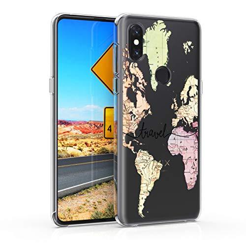 kwmobile Funda para Xiaomi Mi Mix 3 - Carcasa de TPU para móvil y diseño de Mapa Mundial en Negro Transparente