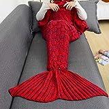 Cathy02Marshall 71 * 35inch Meer-Maid Schwanz Decke weihnachtliche Strick Decke mit Fisch-Skala Muster HandGefertigte Häkel werfen Erwachsenen Bett Wickeln Schlafsack Schal