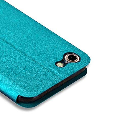 iPhone Case Cover MOFI pour iPhone 7 Crazy Horse Texture Boîtier en cuir flip horizontal avec support ( Color : Blue ) Blue