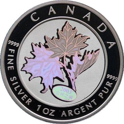 Kanada Glück 2003Unzen Silber Hologramm Maple Leaf $5Münzen in Kapsel