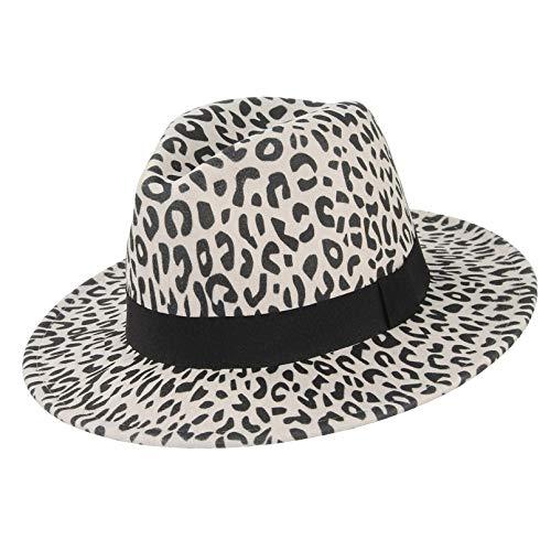 YYWDJSMZ Breiter Krempen Leopard Fedora Filzhut für