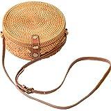 Sac Rond Osier Rotin Paille Sacs Bandoulière Cuir pour Femme (Real Leather Strap, S)