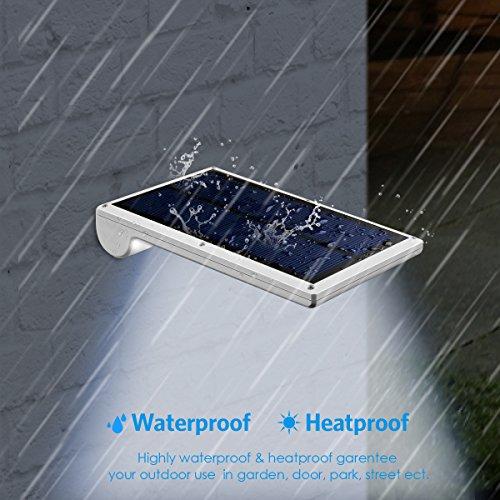 Amir 29 LED Solar Wandleuchte, 4 Modi Solarleuchten Außen, Bewegungs Sensor Licht, Wasserfest Solar Gartenleuchte mit Bewegungssensor, Solar Außenleuchte für Garten Patio, usw. (2 Stück) - 4