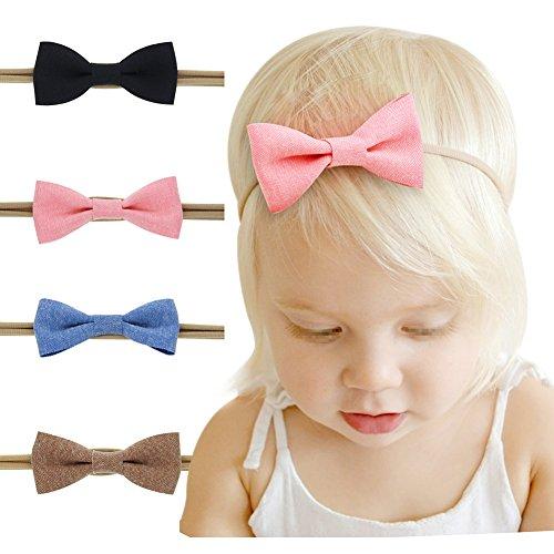 Fletion 4 Stück Kinder Baby Elastisches Haarband Kleinkind Nettes Bogen Stirnband Kopfband Kopftuch