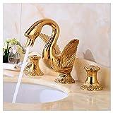 Lenrtu Luxus Im Europäischen Stil Gold Poliert Aus Reinem Kupfer Wasserhahn Mit Spray Vintage Brass Einzigartige Künstlerische Leitungswasser 2 Griffe Waschbecken Waschbecken Single Auswurfkrümmer