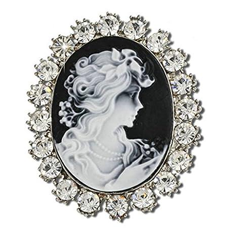Epinki Damen Brosche, Edelstahl Geometrie Form Broschen Pin Abschlussball Anstecknadel Hochzeit Pins Schwarz