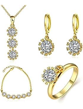 Adisaer 18K Gold Vergoldet Damens Schmuck Set Zirkonia Diamant Kristall Sonnenblume Halskette Armband Tropfen...