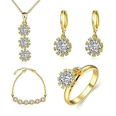 Adisaer 18K Gold Vergoldet Damens Schmuck Set Zirkonia Diamant Kristall Sonnenblume Halskette Armband Tropfen Ohrringe Ring Größe 57(18.1) Elemente Hochzeit (18K Rose Gold)