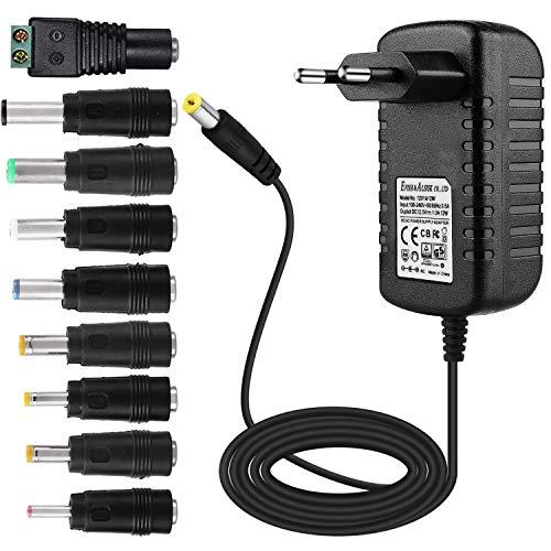 EFISH DC-Netzteil 12V 1A,AC 100-240V bis DC 12V Netzkabel tragbares Ladegerät für LED-Streifen,Fischbecken,Radiowecker,Scanner,Schalter,Router,Lautsprecher,T-Com,Speedport+9 Verschiedene Adapterköpfe -