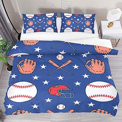 ABRAN Bedding Set Bettwäscheset Sport Baseball Elements Gloves Cap Blau 3tlg. Bettwäscheset Microfaser Quilt Tagesdecke mit 2 Kissenbezügen 1 Bettbezug