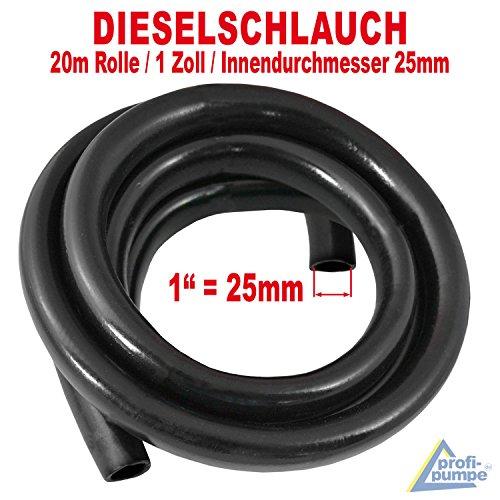 AMUR Dieselschlauch, Benzinschlauch für Dieselpumpe Heizölpumpe Biodieselpumpe Ölpumpe, Wasserpumpe, Ölschlauch Gummi- Spiralschlauch Saug-/Druckschlauch (20m Gummi Schlauch 1 Zoll - 25mm)