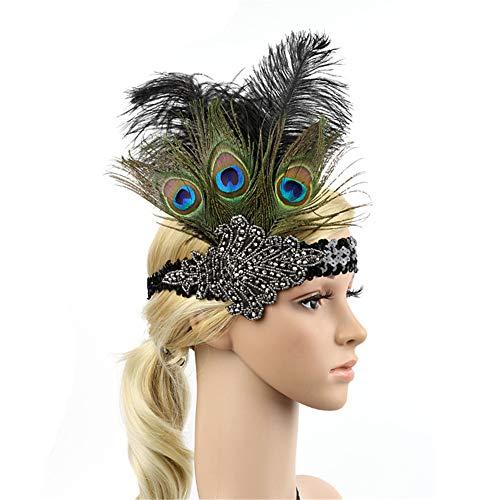 HIDOLL Haarband mit Federn für Cocktail-Party, Haarschmuck für Frauen, Vintage-Stil, Flapper, funkelndes Haarband, Gatsby-Feder-Kopfbedeckung Gr. 90, E-Schwarz