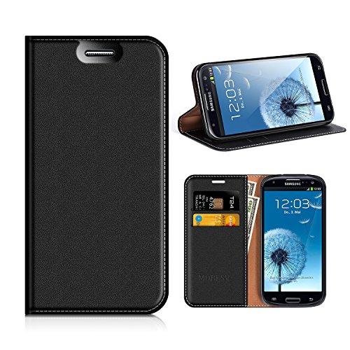 MOBESV Custodia in Pelle Samsung Galaxy S3, Custodia Samsung Galaxy S3 Cover Libro/Portafoglio Porta per Cellulare Samsung Galaxy S3 / S3 Neo - Nero