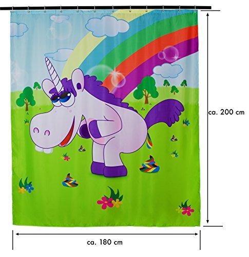 Drunky Unicorn Duschvorhang ca. 200 x 180 cm – inkl. 12 Duschvorhangringe - 2