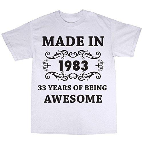 Made In 1983 T-Shirt 100% Baumwolle Weiß