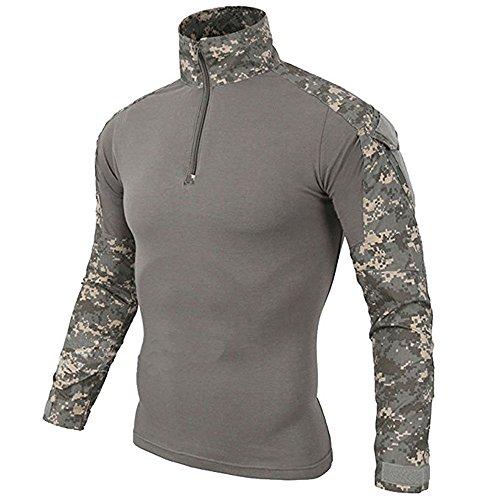 LiliChan Herren Langarm Taktisches Militär T-Shirt Outdoor Shirt Kampfhemd mit Reißverschluss (ACU, UK S (passende Brust: 34
