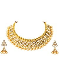 VK Jewels Pearl Choker Gold Plated Alloy Necklace For Women [VKNKS1246G]