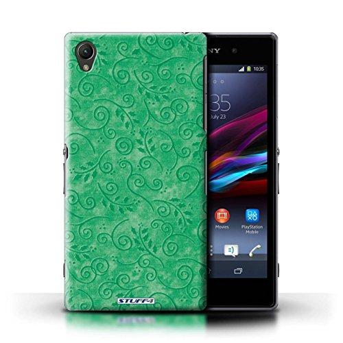 Kobalt® Imprimé Etui / Coque pour Sony Xperia Z1 / Rose conception / Série Motif Feuille Remous Vert
