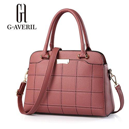 (G-AVERIL) moda faux della borsa del cuoio della borsa grande tote per le donne rosa1