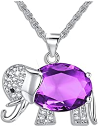 FLORAY Womens and Girls Pendant Necklace Purple High Quality Crystal Elephant Best Gift for Ladies