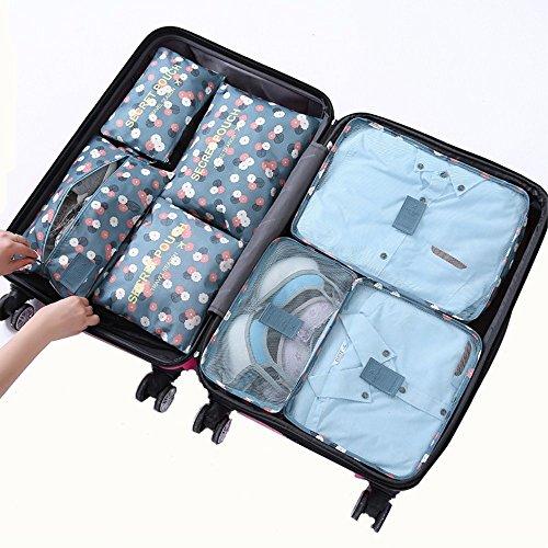Foto de Cocogo 7 Set de Organizador de Equipaje, Impermeable Organizador de Maleta Bolsa para Ropa Sucia de Viaje, Material Nylon Accessorios de viaje