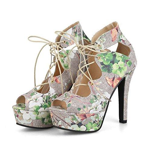 Frauen Extrem Hohe Plattform Blumen Peep Toe Pumps Hochzeit Kleid Stiletto Slip On Schuhe,Green-EU35=225 (Green Toe Schuhe)