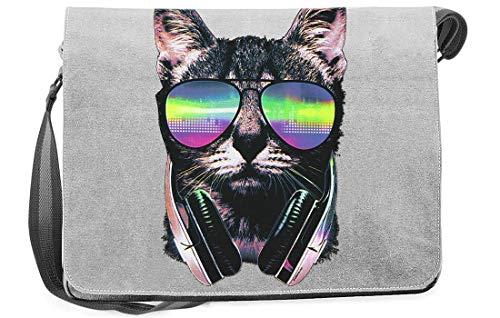 Rohuf Design Umhängetasche Canvas - Musikkatze - bunte Tasche in Neonfarben als Geschenk-Idee für Katzen Fans - grau
