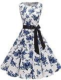 Gardenwed Damen 1950er Vintage Cocktailkleid Rockabilly Retro Schwingen Kleid Faltenrock Blue Flower 2XL