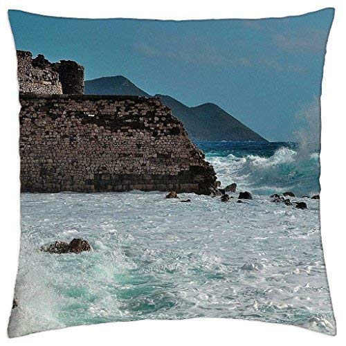WITHY Old Stone Wall on a Rugged sea Shore - Throw Pillow Cover Case,Cover Size:18 x 18 Inch(45cm x 45cm)