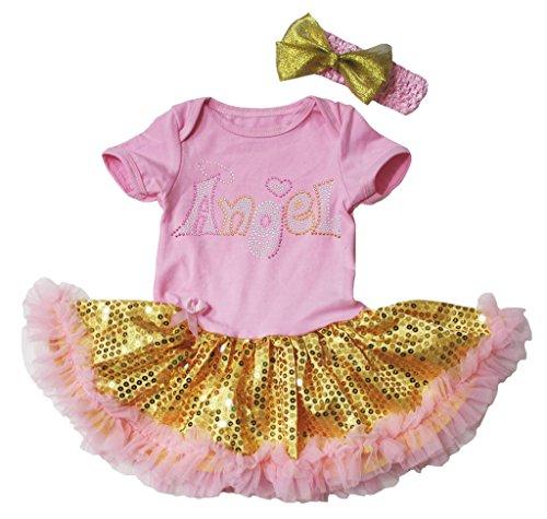 Angel Bling (Easter Baby Dress Bling Angel Pink Bodysuit Gold Sequin Tutu NB-18m (6-12 Monat))