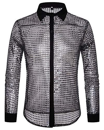 Herren Clubwear Disco Dance Party Cosplay Kostüm Hemd Silber M