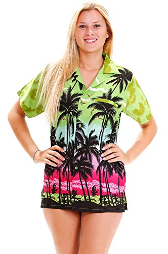 Funky Hawaiibluse, Beach, grün, (Tag St Patricks Shirts Sexy)