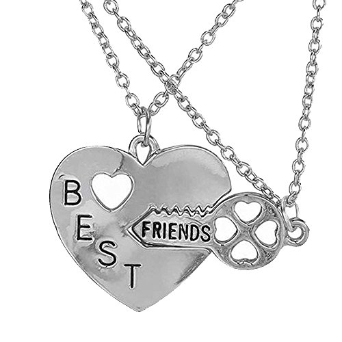 Élégant Rose 2 pièces Best Friends Forever BFF Collier avec pendentif cœur en argent clé Set d'amitié Accessoires