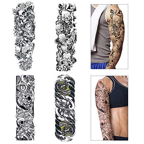 Full Arm temporäre Tattoos, Bukm Temporär Tätowierung Schwarz Klebe Tattoo Körperkunst Aufkleber Fake Arm Tattoos Sticker für Männer Frauen (4 Blätter)