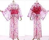 Kawaii-Story K-013 pink rosa weiß Sakura Blumen ORIGINAL traditionell Japan Damen Kimono YUKATA OBI Gürtel Baumwolle