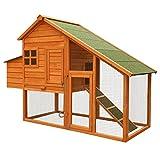 Pollaio con spazio esterno e nido, in abete, 1710x660x1200mm, griglia e vasca galvanizzate
