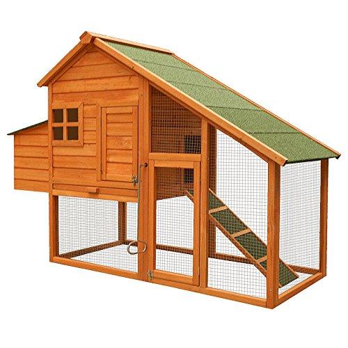 Hühnerstall mit Freilauf und Nistkasten Fichtenholz 171 x 66 x 120 cm Gitter und Kotwanne verzinkt