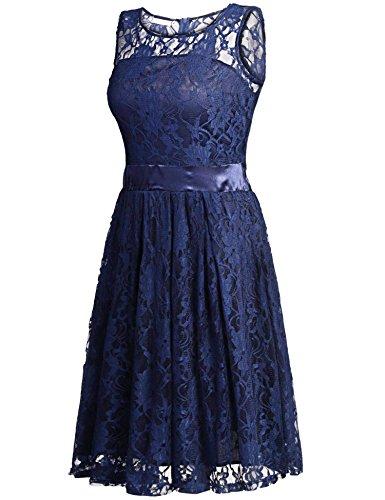 ZEARO Damen Rüchenfrei Spitzenkleid Cocktailkleid Abendkleid Partykleid Minikleid Strandkleid Dunkelblau