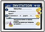 invitation carte d'anniversaire fête en francais Lot 12 cartes fille garçon enfant Tablet ans smiley emoji licorne cheval poney adolescent ado cinéma escalade chat chien laser game party boum invitations emojy boom