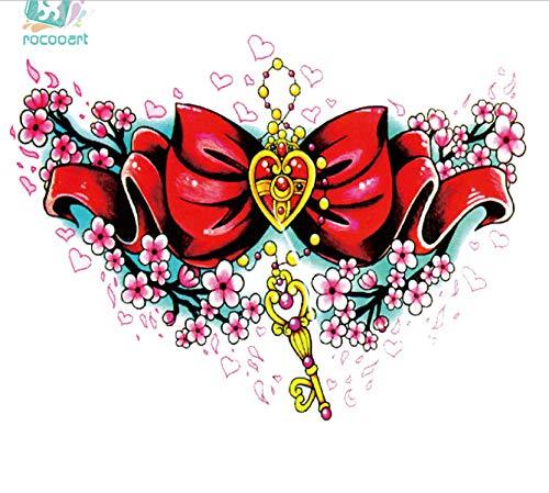 auen Große Tatoo Aufkleber Schöne Farbe Schlüssel Halskette Rot Design Temporäre Tattoo Aufkleber Taty(2 Pack) AAA-001 ()