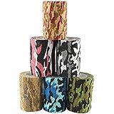 Andux Zone 6 Rotoli camuffamento Benda Elastica bendaggio Adesiva Coesiva Benda tessuto medico ZZTXBD-03 colore casuale (7.5cm*4.5m)
