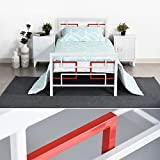 EGGREE 3ft Single Metal Bed Frame with Strong Headboard and Footboard for Kids Adults,Red in White