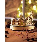 Weihnachtsdeko Spieluhr Winterdorf Melodie Stille Nacht LED Beleuchtung Holz Natur