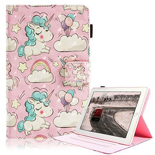 iPad Mini Hülle, 3D Kinder Glitzer Bling Schlank PU Leder Weiches TPU Inner, Ständer Smart Cover Auto Schlafen/Wecken für Apple iPad Mini 4/ Mini 3/ Mini 2/ Mini 1, Rosa Einhorn