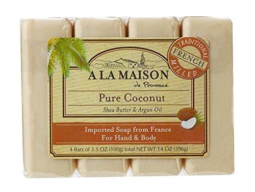 A La Maison Soap Bars, Pure Coconut, Value Pack 3.5 oz, 4 Count by A La Maison