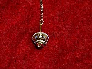 NAK's Rajasthani Rajput Borla Maang tika Pearl and CZ stone
