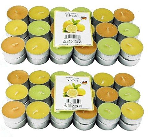 72 Zitronella Duftlichte Teelichter , farbig gemischt , Aromatischer Zitronen Duft , Anti Mücken Kerzen , Duftkerzen , Outdoor Kerzen , Mückenabwehr , hillfield (72)