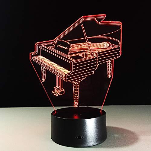 3D Klavier Licht Tisch Kinder Lampe 7 Farben Ändern Effekt Dekorative Schlafzimmer Lichter Touch USB Licht Musik Fan Geschenk, Touch
